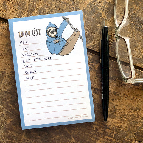 Sloth To Do List Notepad