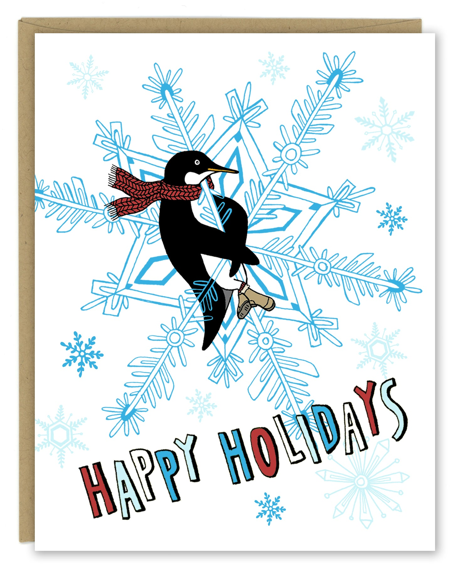 Penguin Snowflake Holiday Card