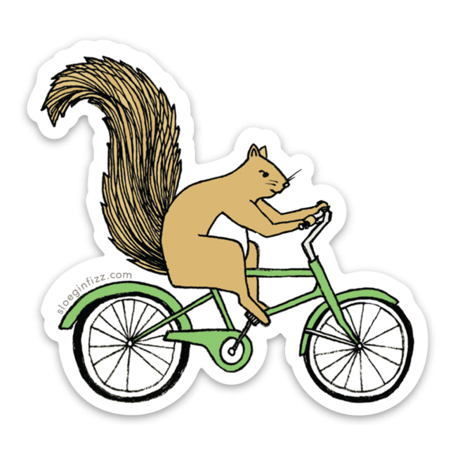 Squirrel Riding a Bicycle Vinyl Sticker