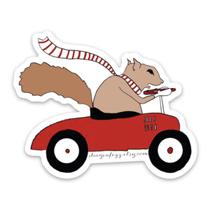 Squirrel Driving a Car Vinyl Sticker