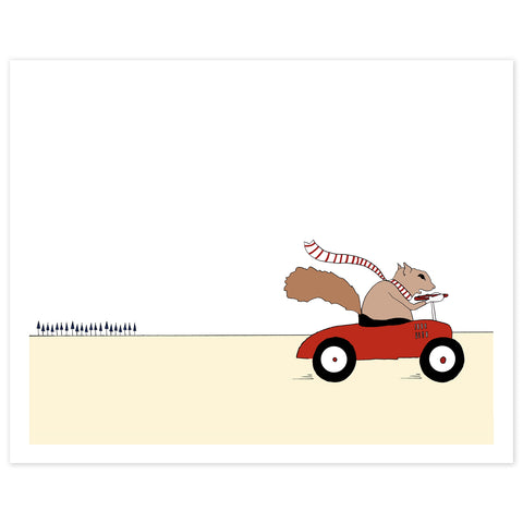 Mr. Squirrel Driving a Car Print