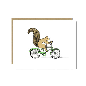 Squirrel Riding a Bicycle Greeting Card
