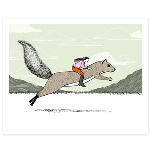 Girl Riding a Squirrel Print