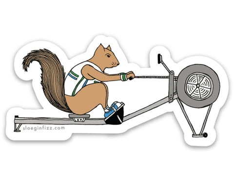 Squirrel Rowing Vinyl Sticker