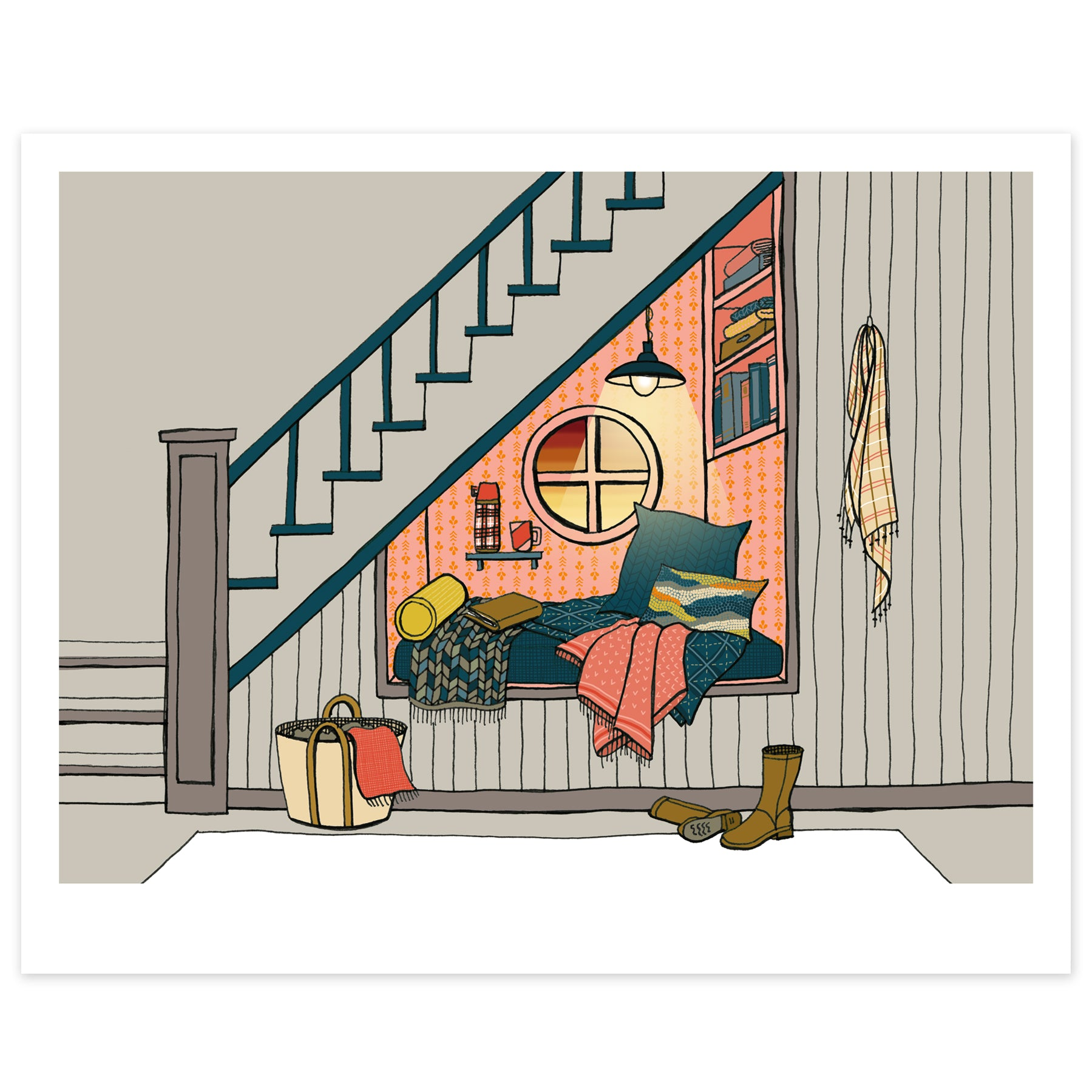 Reading Nook Under the Staircase Print