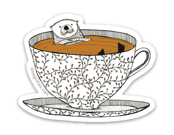 Tea Otter Vinyl Sticker