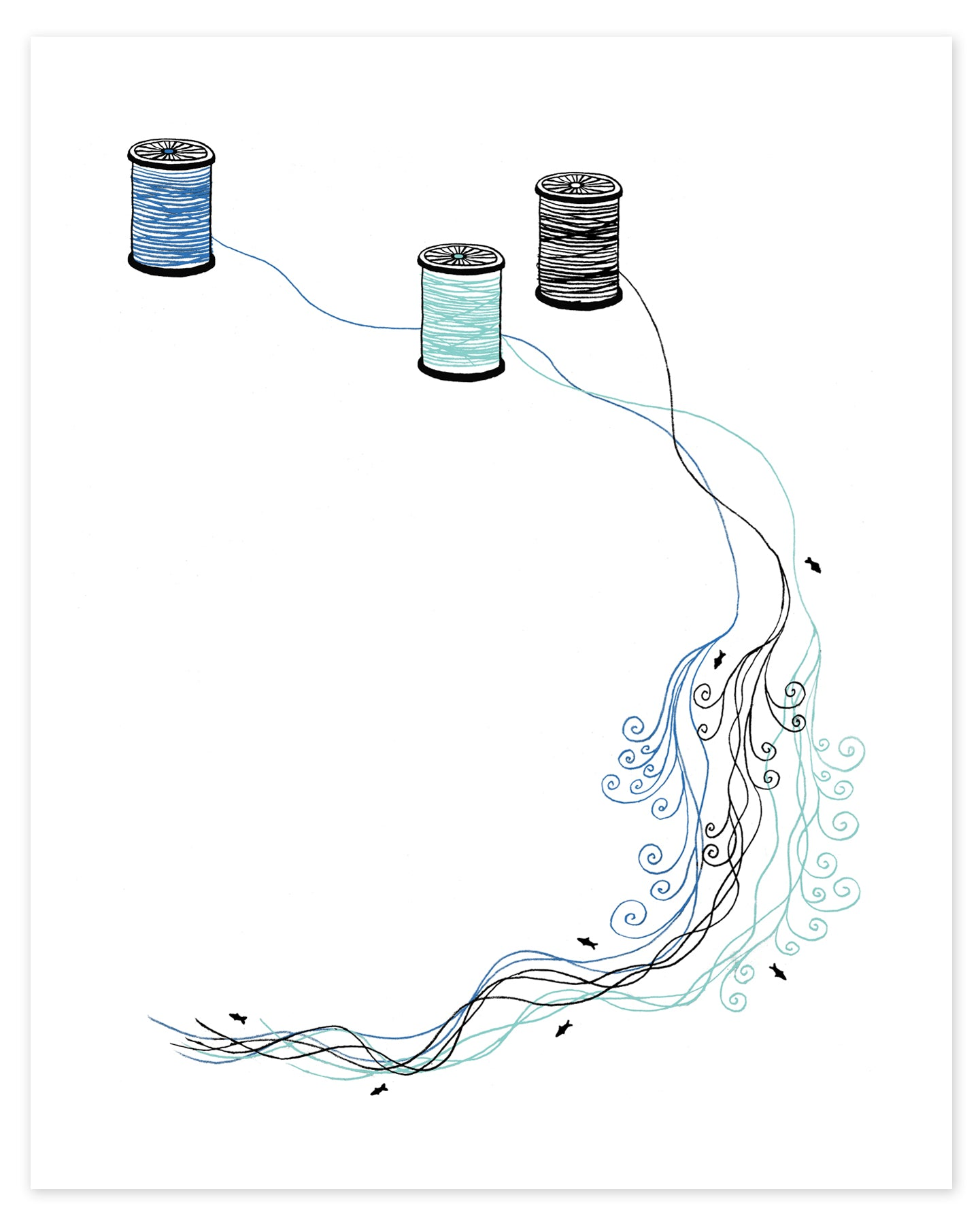 Spools of Thread to Form a River Print