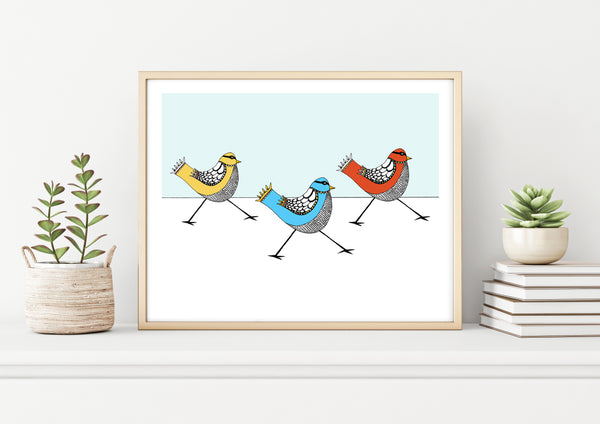 Three Masked Birds Print