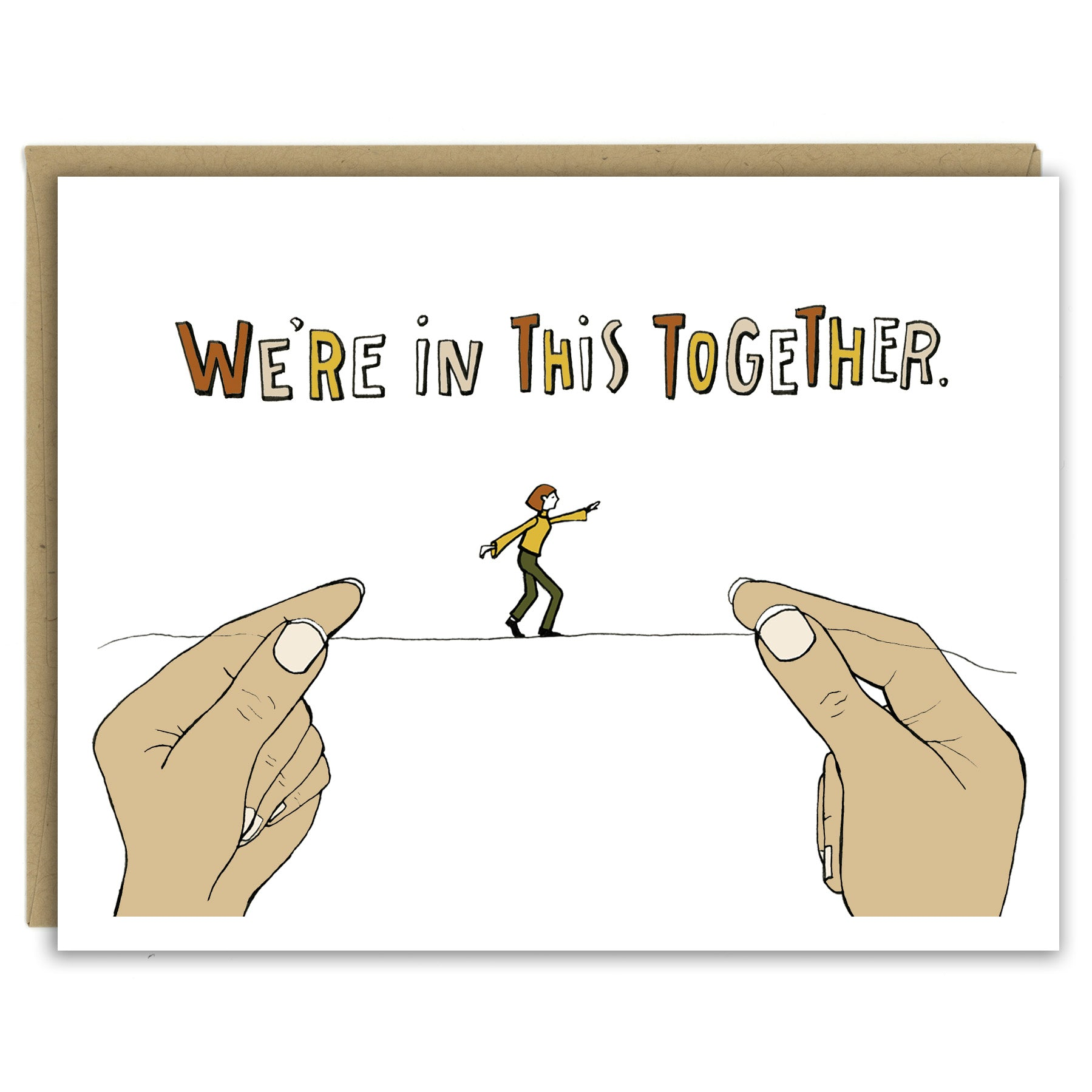 We're in this Together Tightrope Greeting Card