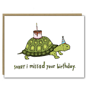Turtle with a Cake Birthday Greeting Card