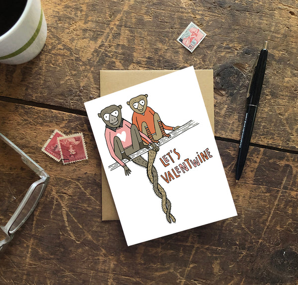 Let's Valentwine Monkeys in Love Greeting Card