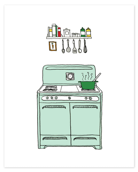 Retro Kitchen Stove Print