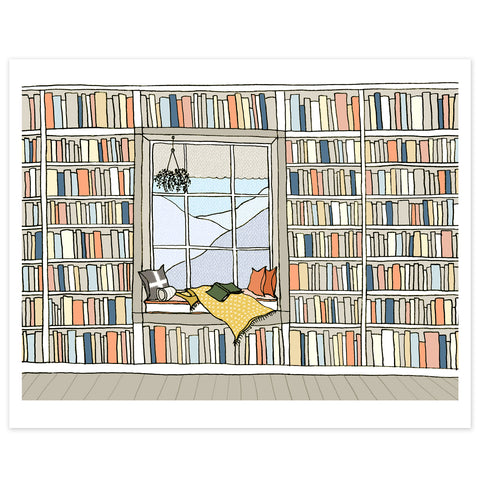 A Window Seat Library Print