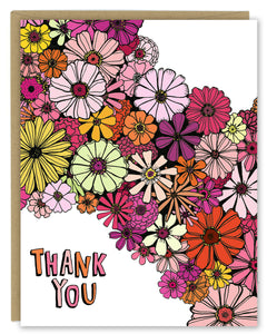 Zinnia Flowers Thank You Greeting Card