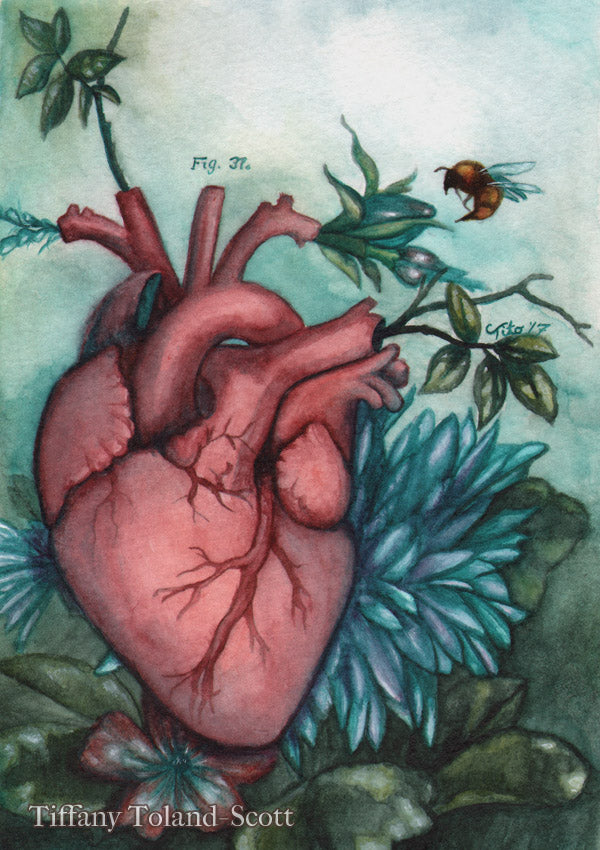 The Blooming Heart - Watercolor, 2017 - SOLD