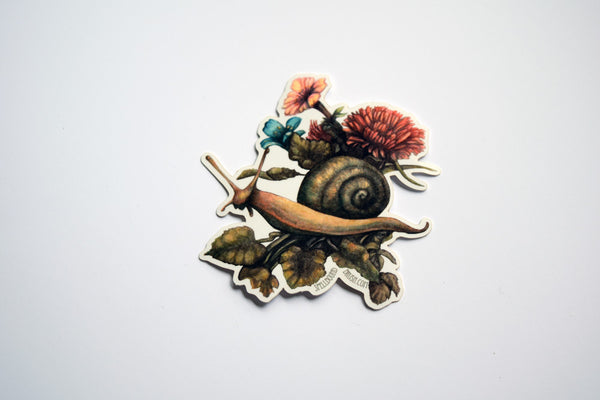 At Garden Bottom Snail Die Cut Sticker