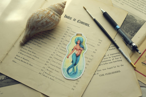 Blue Bottle Mermaid Die Cut Sticker