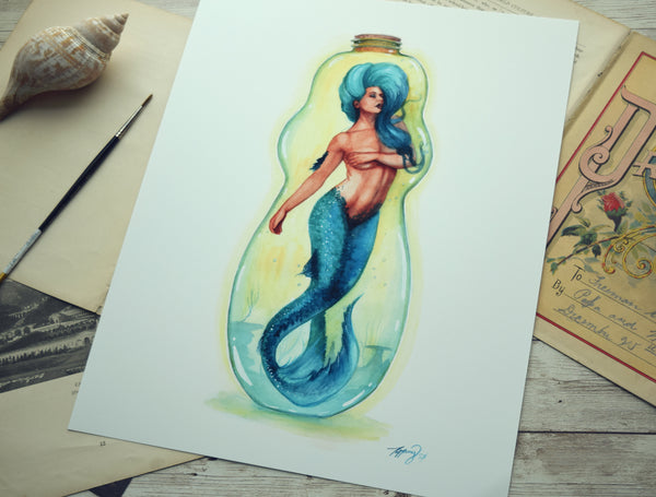 11x14 Print - Blue Bottle Mermaid