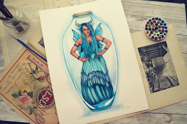 Blue Bottle Fairy - Watercolors
