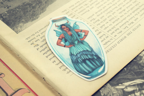 Blue Bottle Fairy Die Cut Sticker