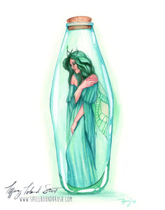 11x14 Print - Green Bottle Fairy