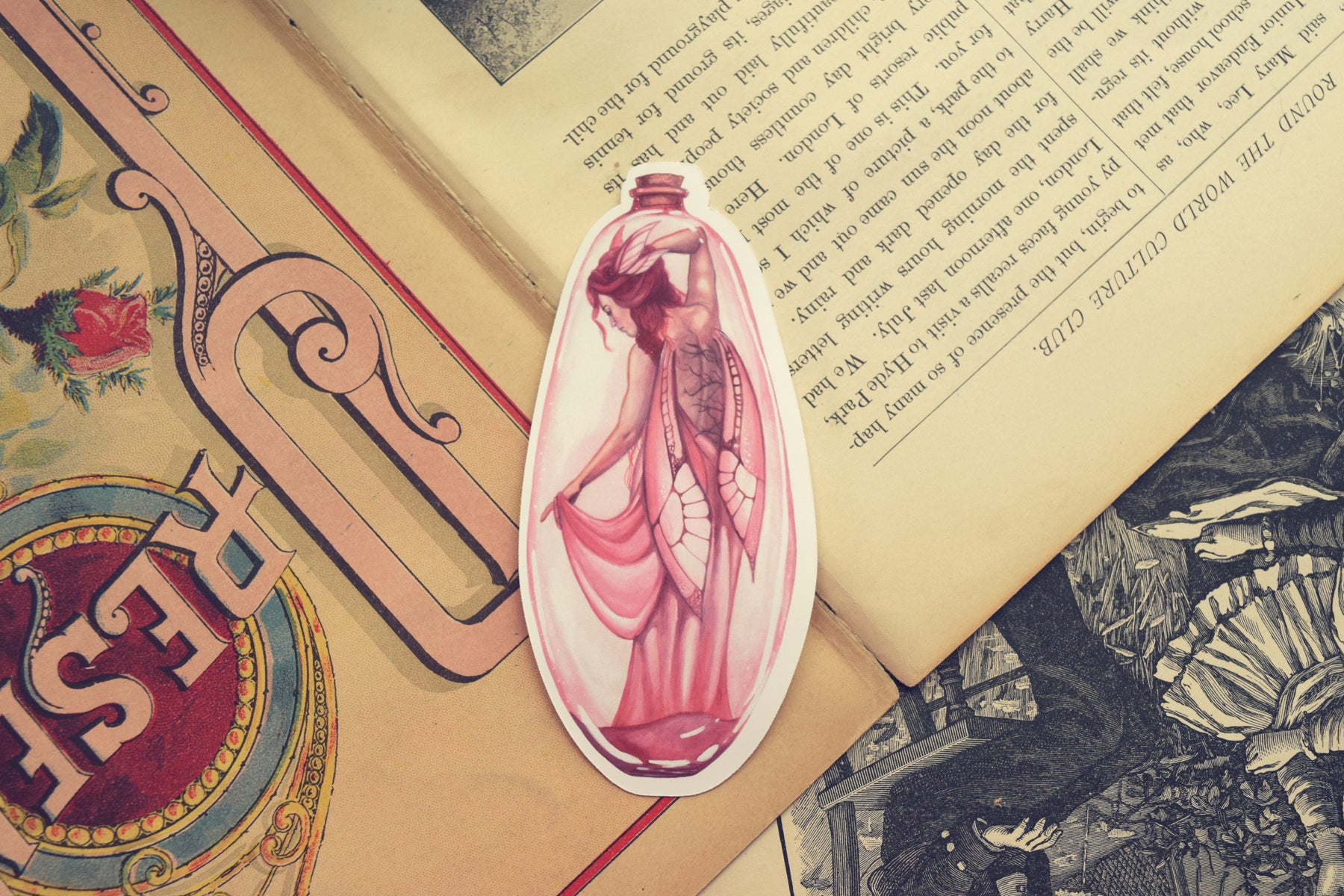 Pink Bottle Fairy Die Cut Sticker