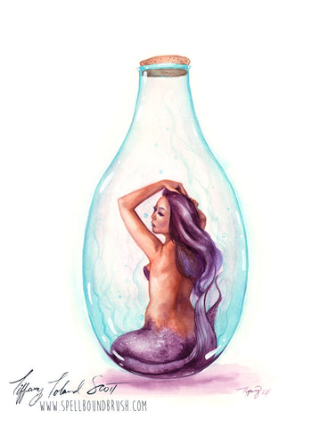 "11x14 Print ""Purple Bottle Mermaid"""