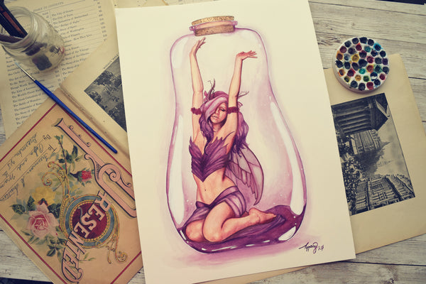 Purple Bottle Fairy - Watercolors