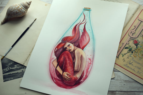Red Bottle Mermaid - Watercolors