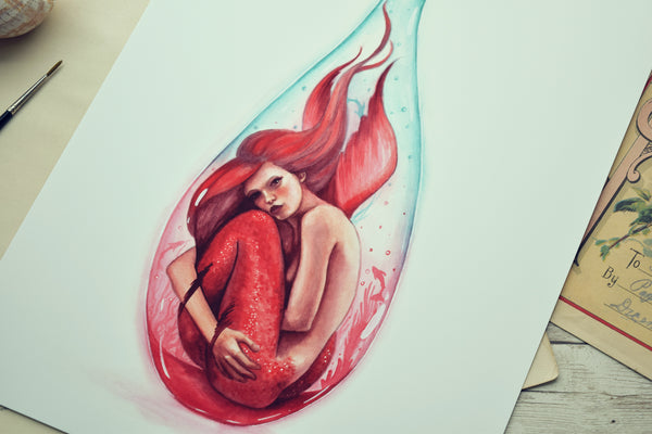 "11x14 Print ""Red Bottle Mermaid"""
