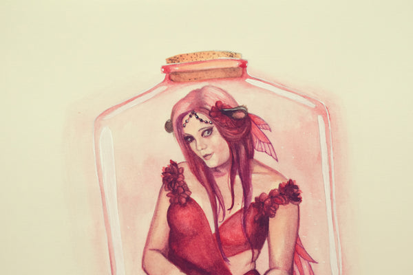Red Bottle Fairy - Watercolors