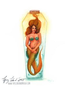 11x14 Print - Yellow Bottle Mermaid