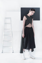 X-cropped Top with Side Drapes - Black