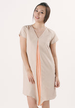 V-neck Dress Dual Colour - Peach