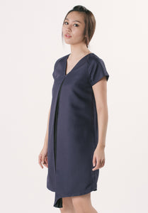 V-neck Dress Dual Colour - Navy