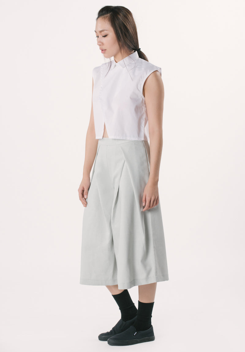 Collared Cropped Top - White