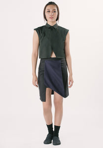 Collared Cropped Top - Black