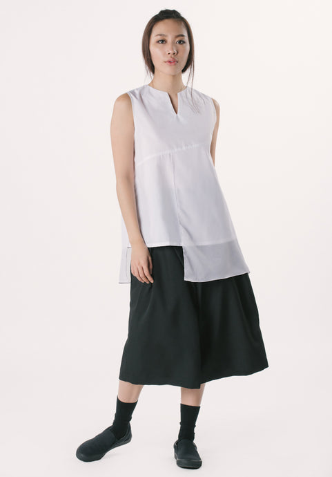 Sleeveless Top with Chiffon -White