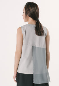 Sleeveless Top with Chiffon - Grey