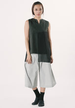 Sleeveless Top with Chiffon - Black