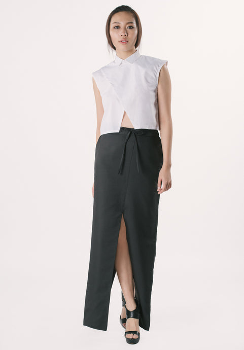 Long Skirt with Slit - Black
