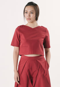 Cropped Top with Pocket - Maroon