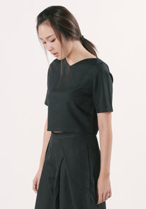Cropped Top with Pocket - Black