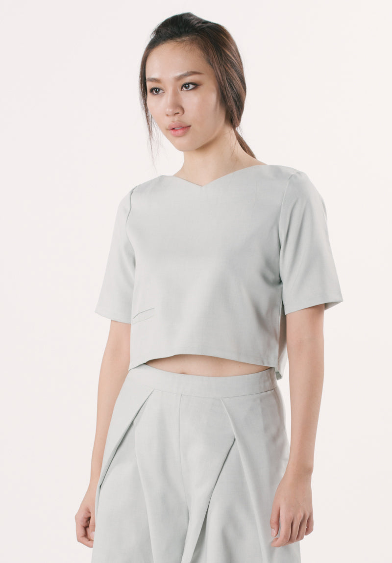 Cropped Top with Pocket - Grey