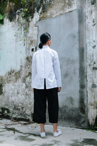Juno Mandarin Collar Shirt -White