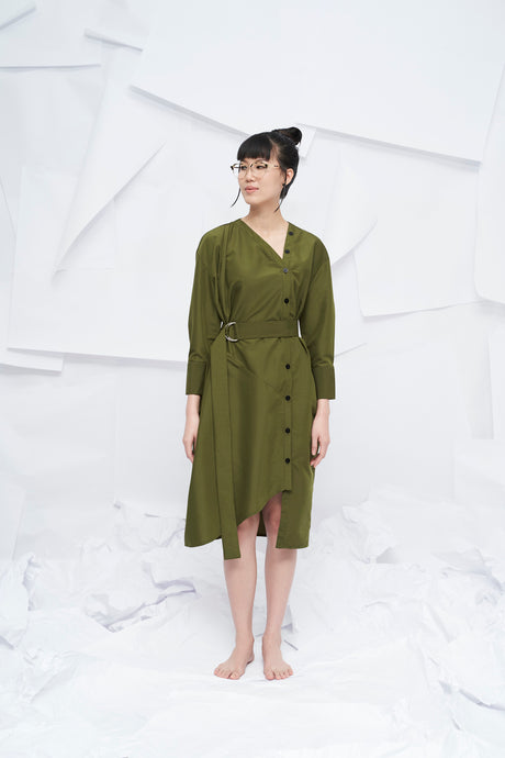 Nara Oversized Dress with Belt - Green