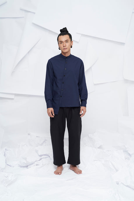 Tao Mandarin Collar Button Shirt - Navy