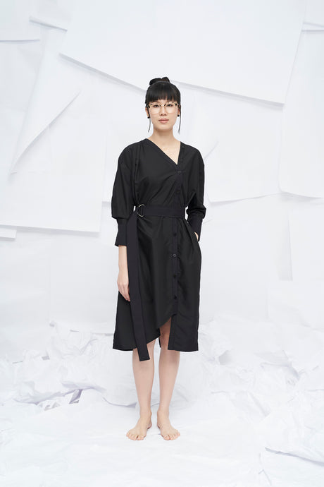 Nara Oversized Dress with Belt - Black