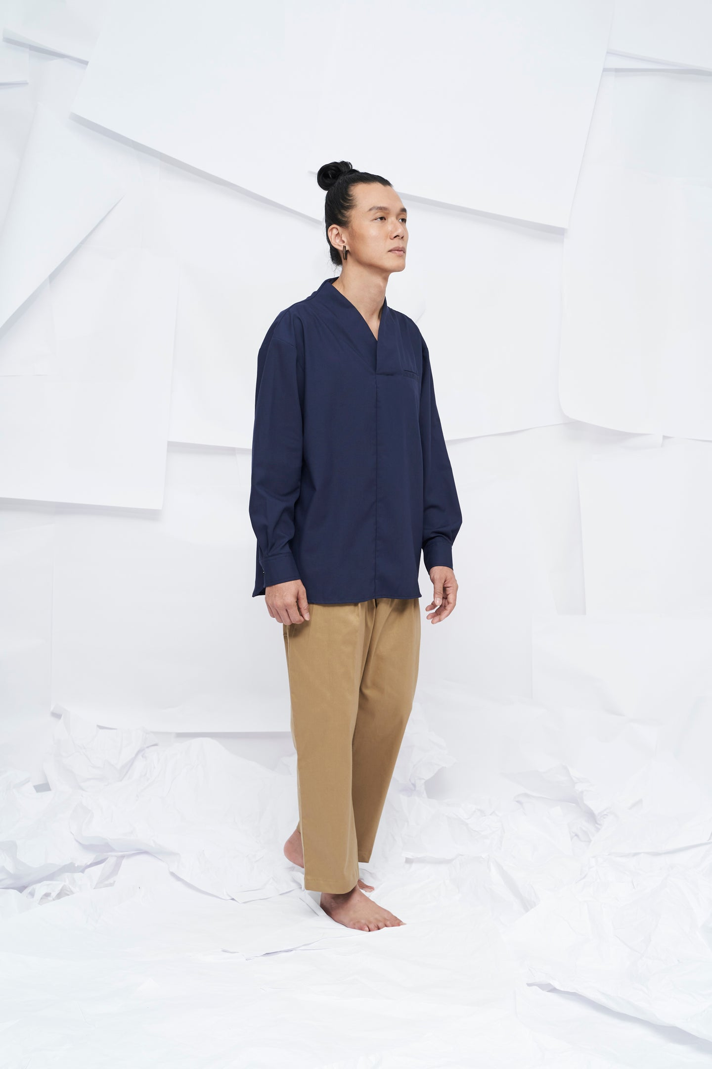 Eiji Oversized Long Sleeve Shirt - Navy