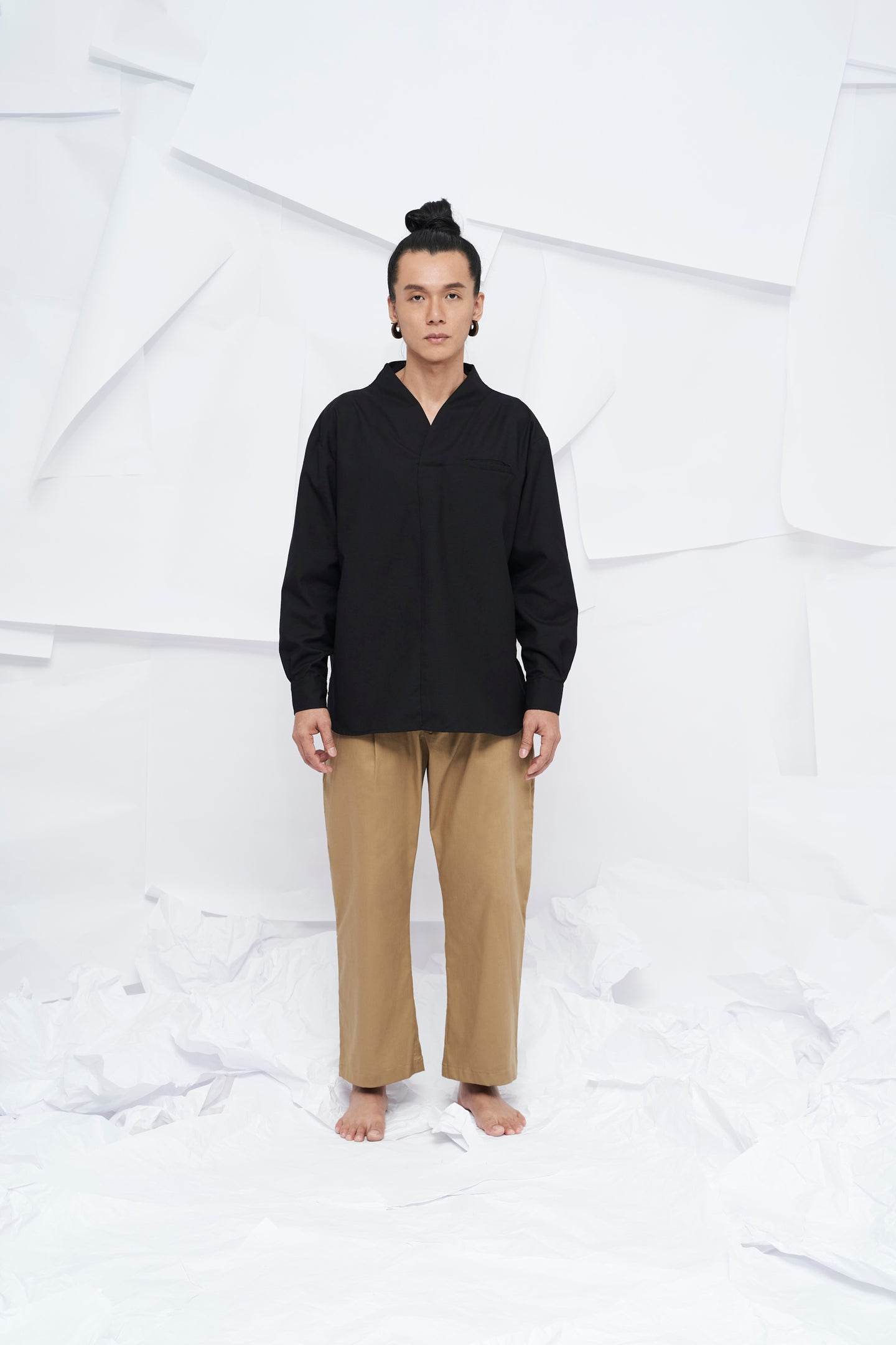 Eiji Oversized Long Sleeve Shirt - Black